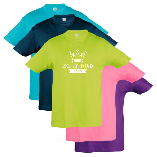 """T-Shirt Kinder """"Krone-Schulkind-2020"""", Aufdruck weiß,"""