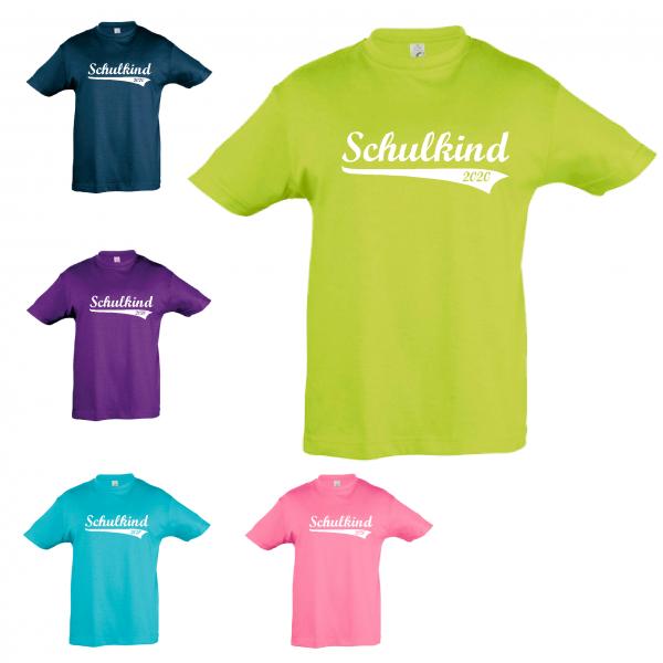 """T-Shirt Kinder """"Schulkind-2020, Retro"""", Aufdruck weiß"""