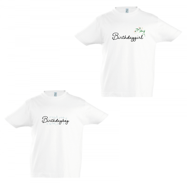 T-Shirt Birthdayboy / Birthdaygirl, verspielt