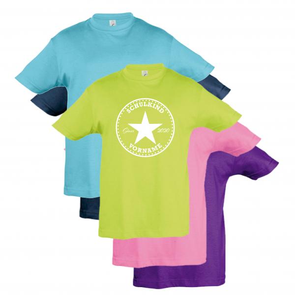 """T-Shirt Kinder """"Schulkind-2020-Stern-Vorname"""", Aufdruck weiß,"""